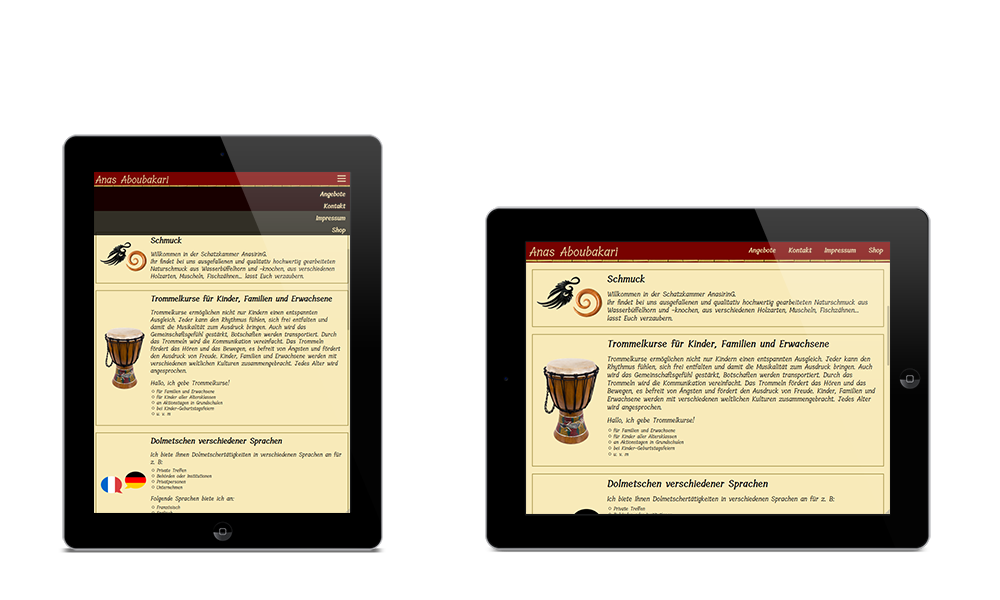Anas Aboubakari - Webdesign - Tablet