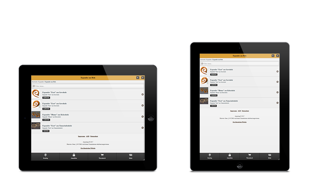 Anasiring - Webdesign - Onlineshop - Tablet