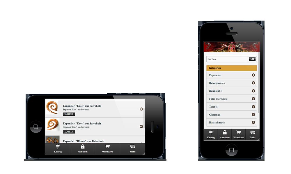 Anasiring - Webdesign - Onlineshop - Smartphone