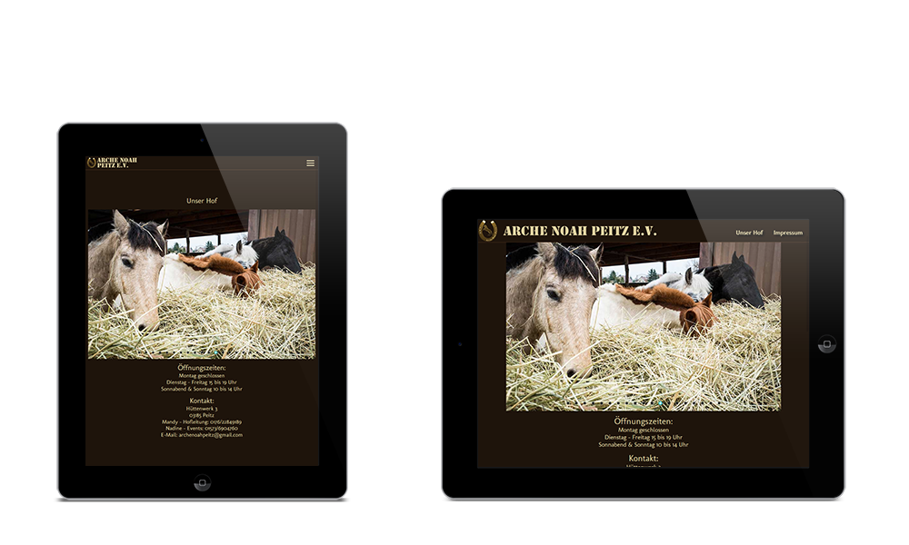 Arche Noah Peitz - Webdesign - Tablet