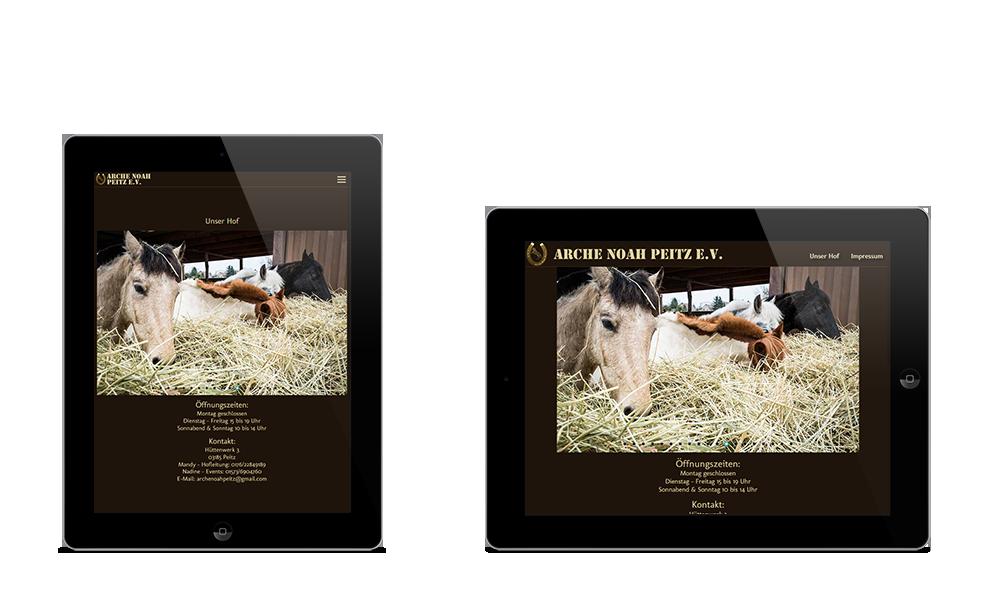 Arche Noah Peitz - Webdesign - Tablet