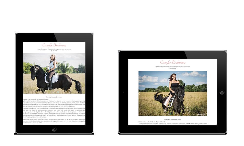 Caro - Webdesign - Tablet