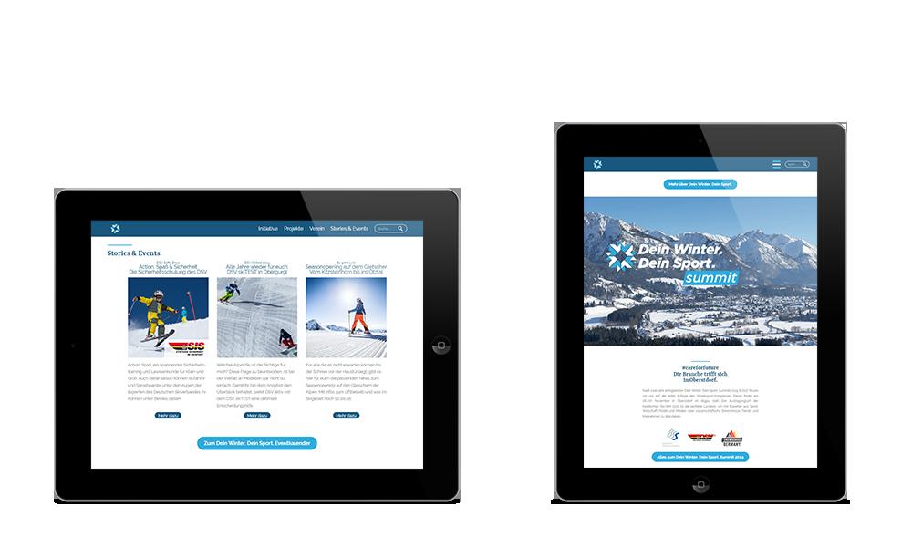 Dein Winter. Dein Sport.- Webdesign - Tablet