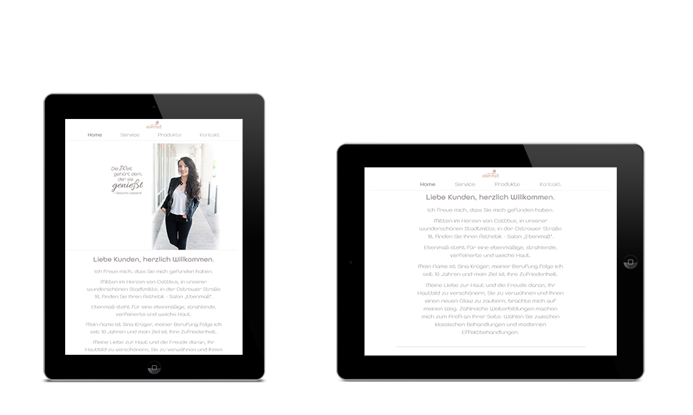 Ebenmass-Kosmteik - Webdesign - Tablet