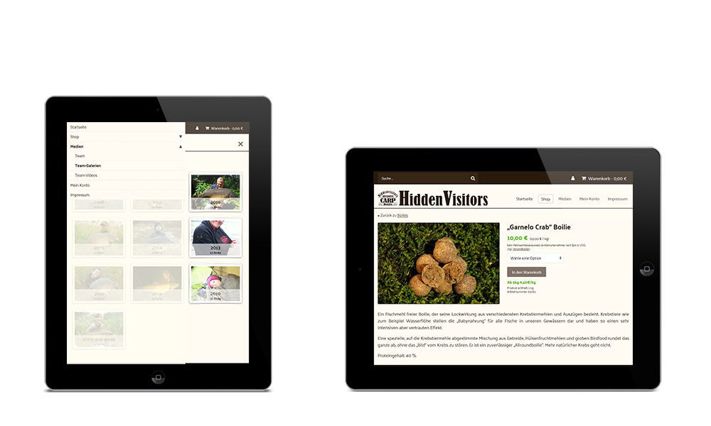 Hiddenvisitors - Webdesign - Onlineshop - Tablet