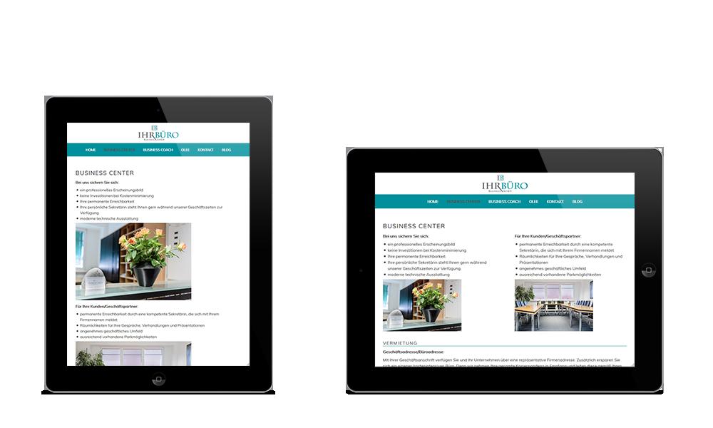 Ihr Büro Business GmbH - Webdesign - Tablet