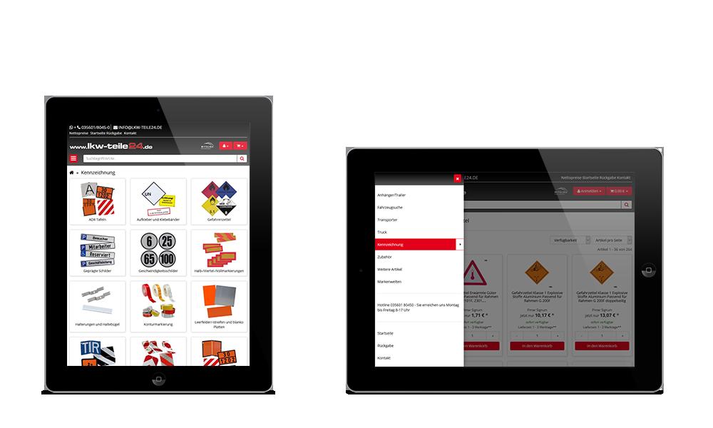 LKW-Teile24 - Webdesign - Onlineshop - Tablet
