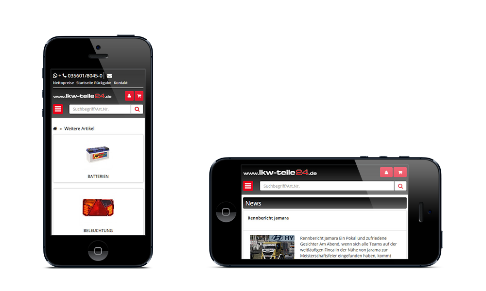 LKW-Teile24 - Webdesign - Onlineshop - Smartphone