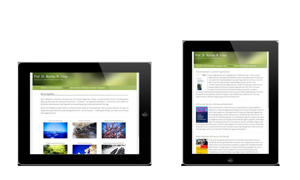 Marlies Fröse - Webdesign - Tablet