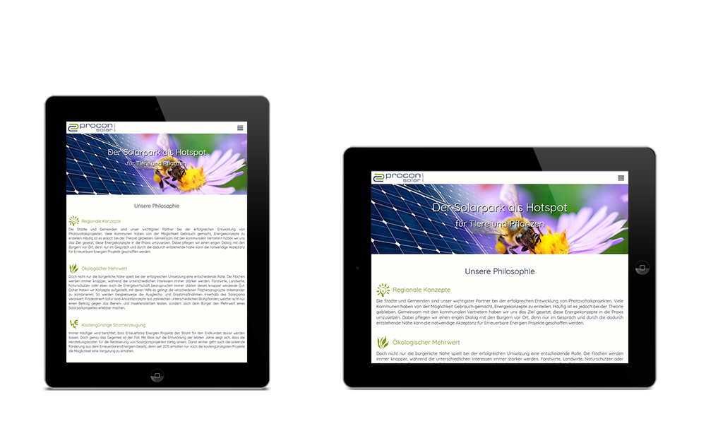 Procon-Solar - Webdesign - Tablet