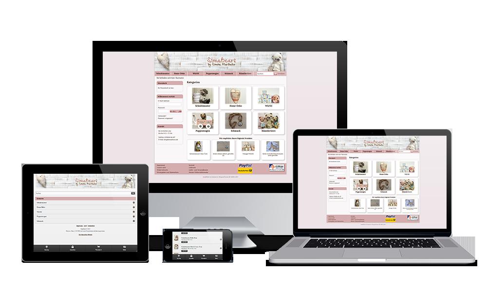 Simabears - Webdesign - Onlineshop