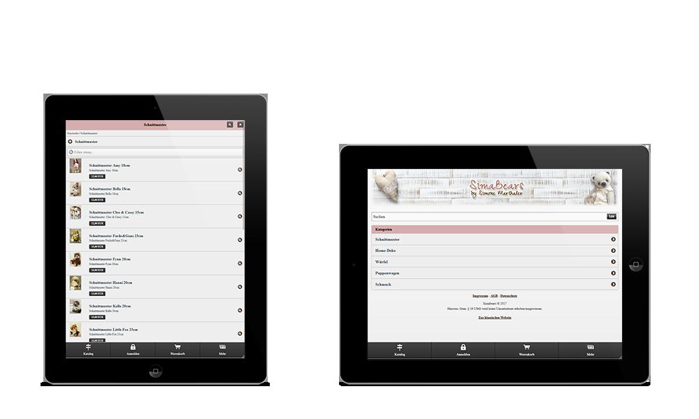 Simabears - Webdesign - Onlineshop - Tablet